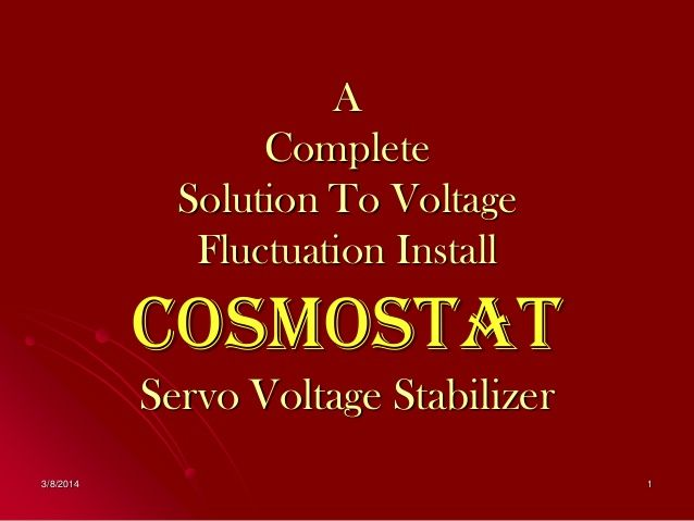 Servo Controlled Voltage Stabilizer By COSMOSTAT