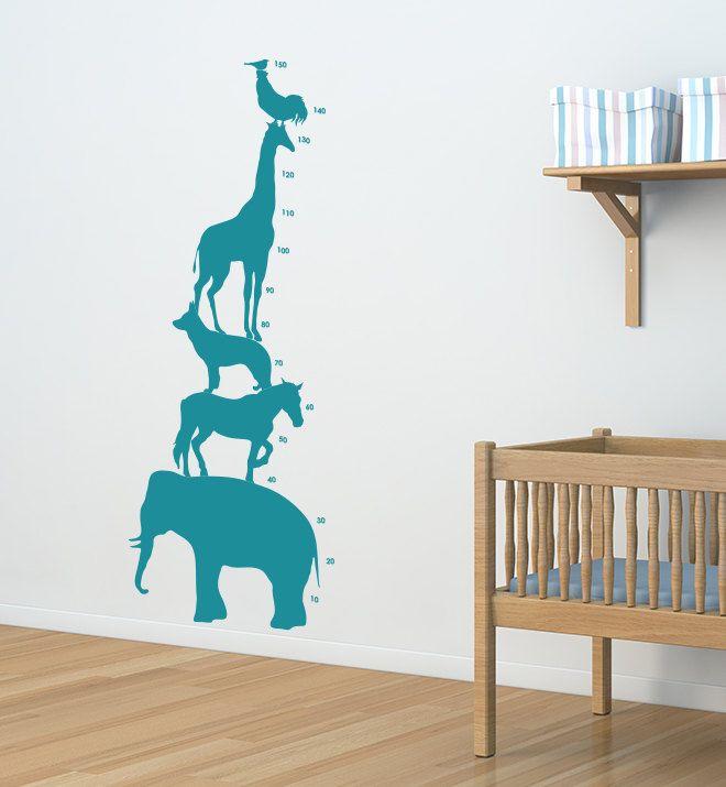 Safari Animal Kids Height Chart Removable by CampFireWallGraphics