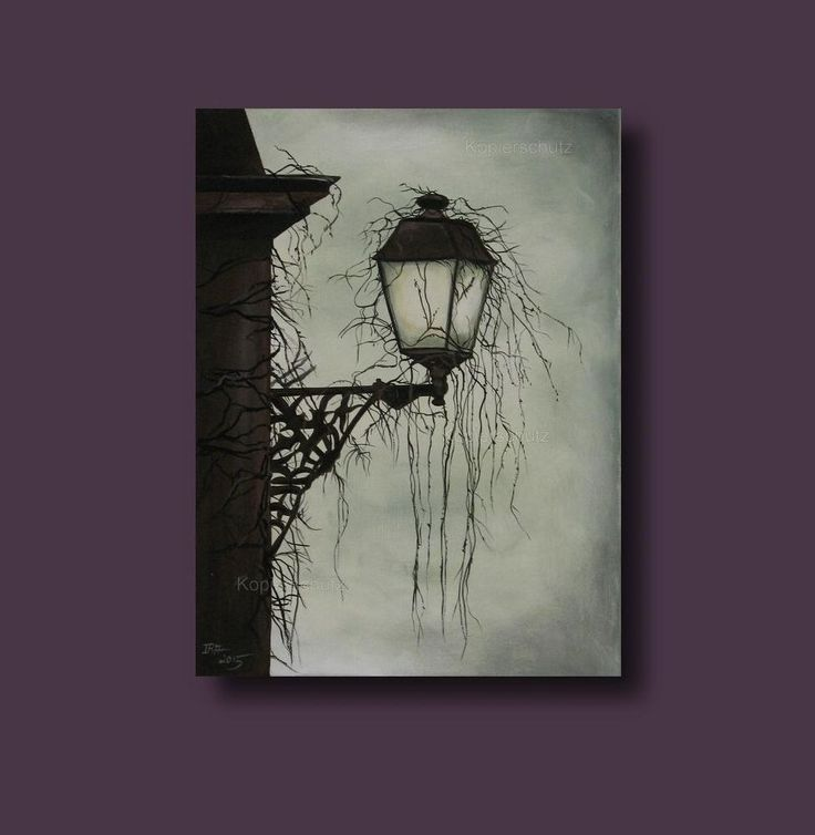 Twilight / Zwielicht - Acryl Bild, Gemälde, Painting, Unikat, Gothic, Laterne