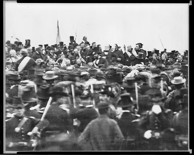 Lincoln's Gettysburg Address, Gettysburg (cropped detail of original distant crowd scene).