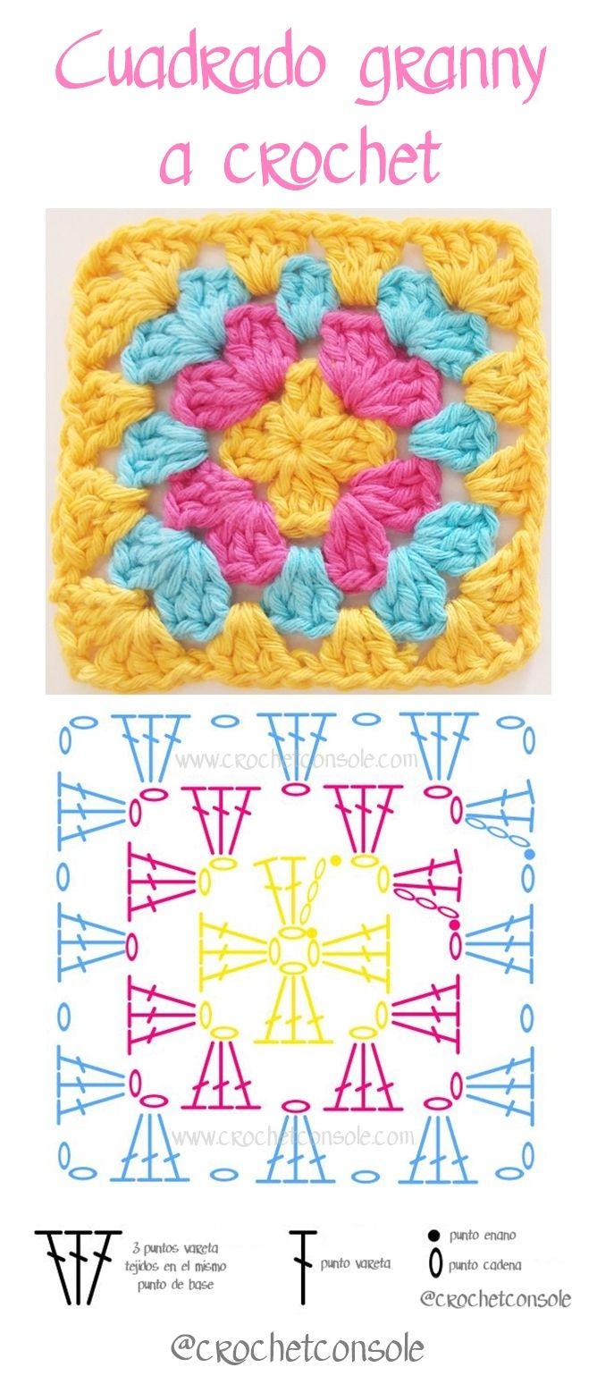 Cuadrado granny a crochet paso a paso | Motivos crochet | Pinterest ...