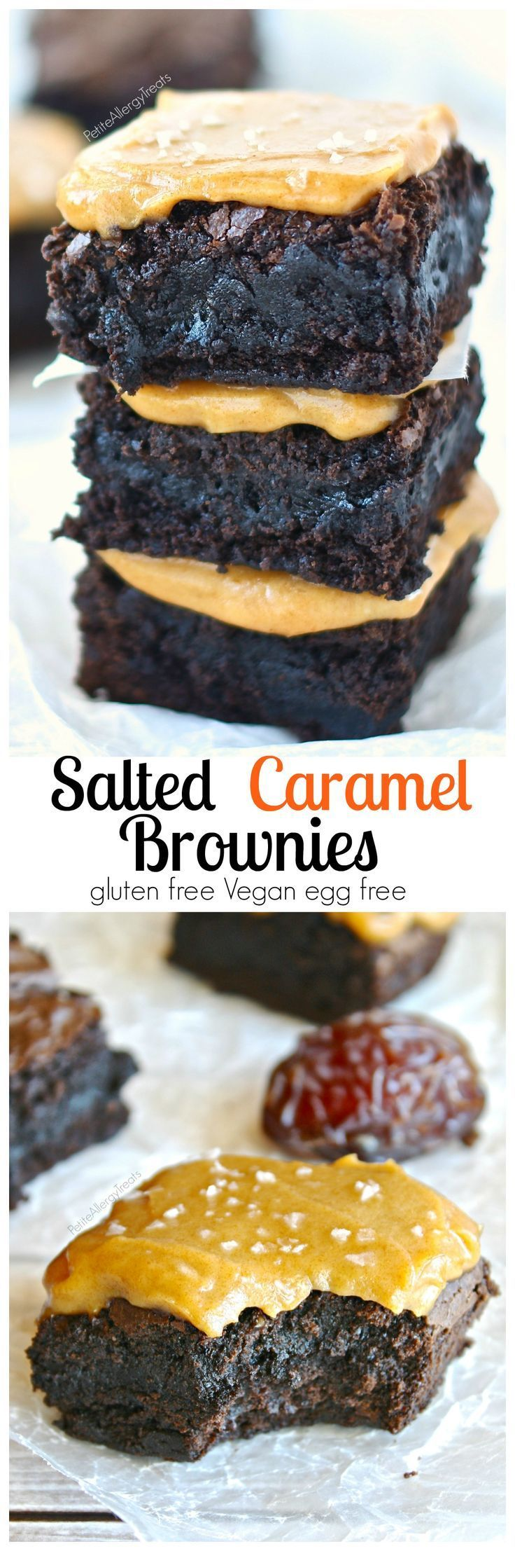Gluten Free Salted Caramel Brownies (Vegan) Fudgy brownies covered with sweet and salty caramel sauce! Dairy free easy caramel sauce