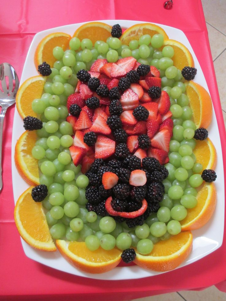 Ladybug Fruit Platter- cut the strawberry to make eyes and mouth