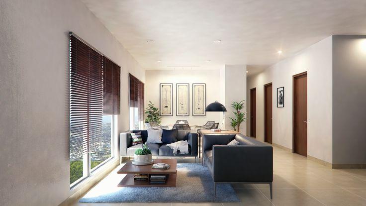 Render Interior Sala departamentos - EVA3D