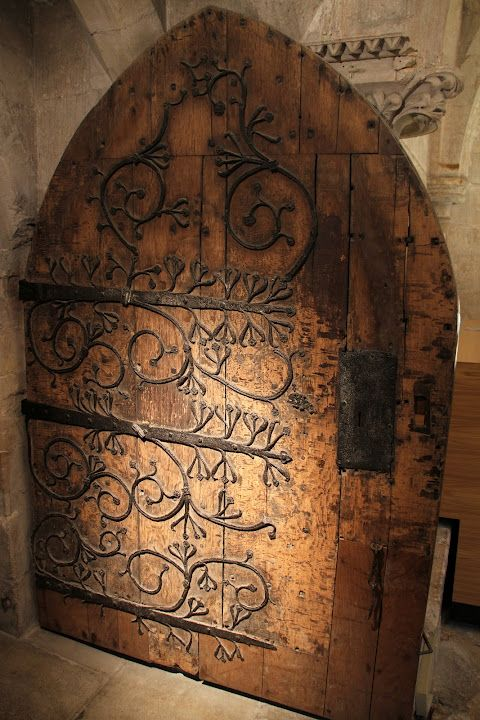 A beautiful old door inside the Cathedral at Wells, Somerset, England built between 1175 and 1490.