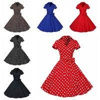 1950s Retro Audrey Hepburn Style V-Neck Swing Lapel Shirt Rockabilly Pinup Dress M-XXL  Condition: 1