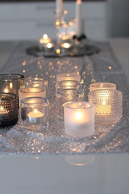 candle light and silver