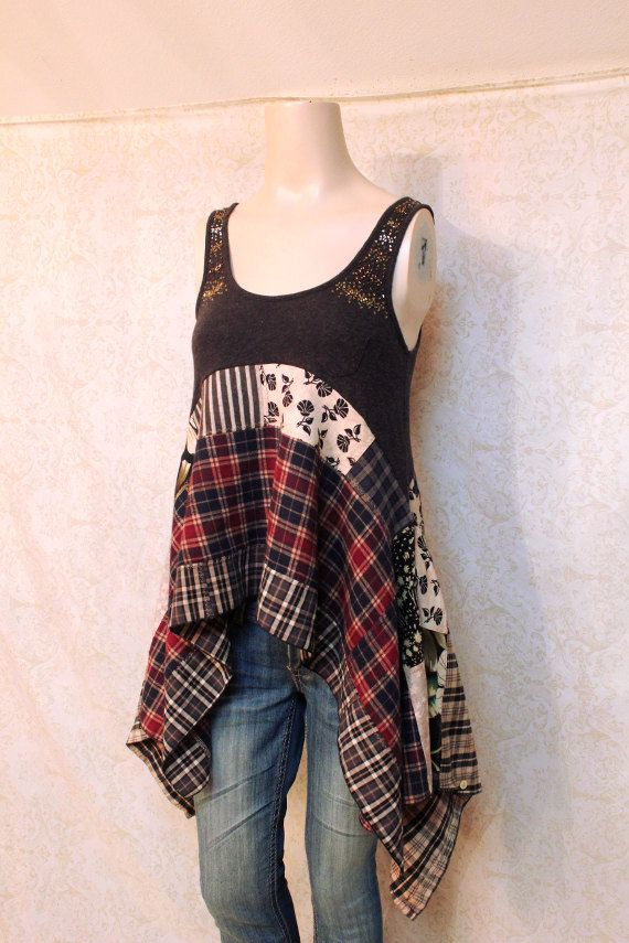 Upcycled Boho camicia Rocker Chic Country Festival di REVIVAL