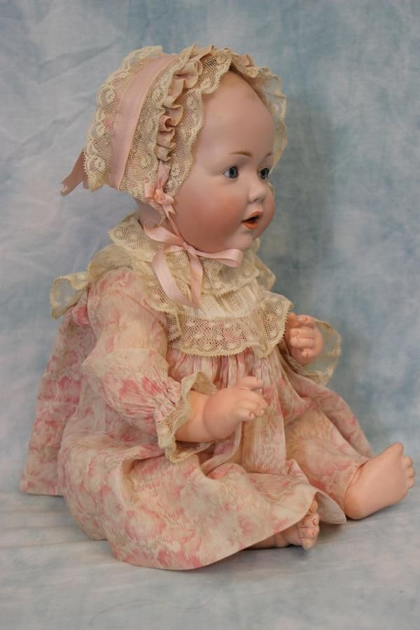 ADORABLE 14 Kestner 1070 Hilda Baby Antique German Bisque doll Solid Dome head circa.1915 Sweet and special is this antique 14 Hilda character baby by