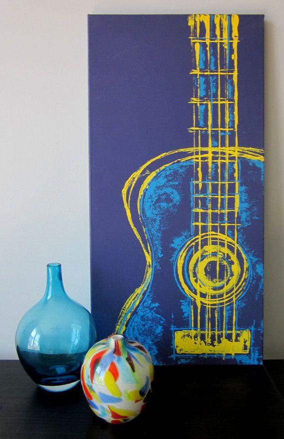 Six String in Yellow 12 x 24 Mixed Media on Canvas..Easy - Bonus Room