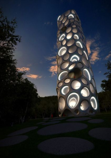 This high vertical structure with futuristic architecture – the museum project of Chilean wines Wine Museum in San Kristoballe Grey, north of Santiago (Chile)