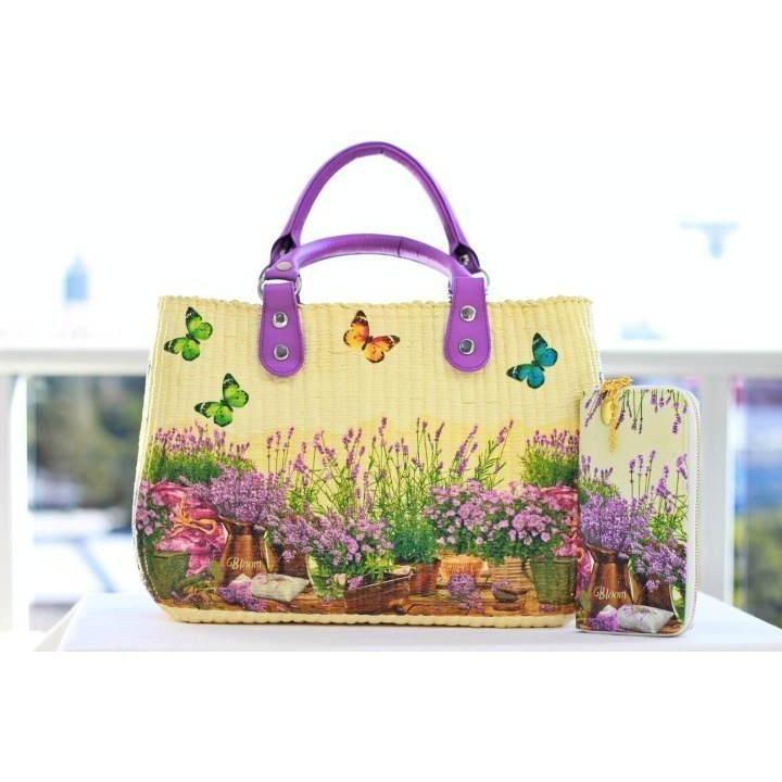 $99.00 Favorite purple on rectangle style decoupage handbag. by 1stDesign