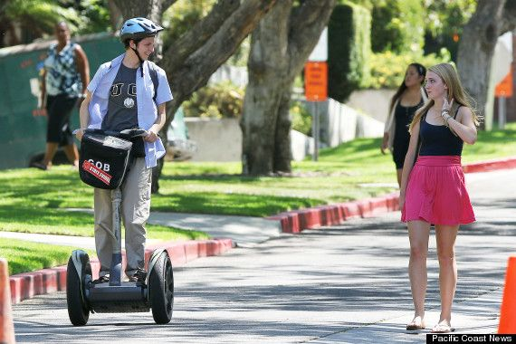 "Michael Cera rides a Segway PT on the set of ""Arrested Development"" Season 4."