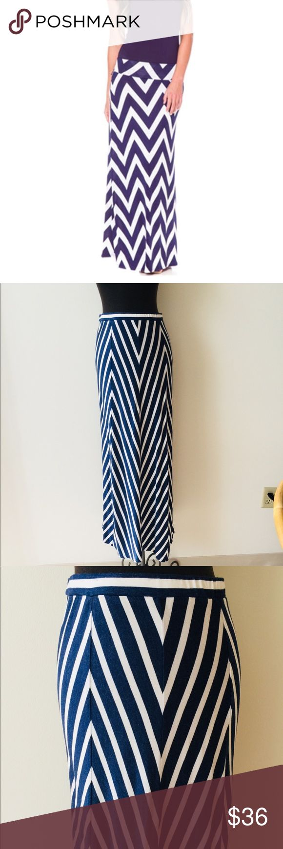 ❗️Max Studio Navy Chevron Maxi Skirt MSRP $78! ❗️Max Studio Navy Chevron maxi skirt in great condition retails $78. Size small. Cover photo to show styling. Buy this item at list price & get any 2nd item of equal or lesser value FREE! OR feel free to make an offer! I'm selling to the first reasonable offer I receive! Huge Clearout Sale for the holidays! Max Studio Skirts Maxi