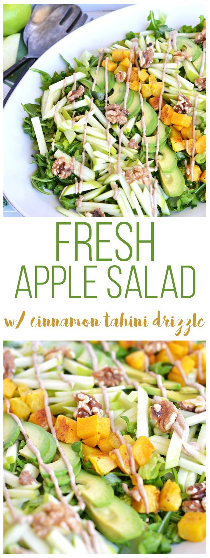 This Fresh Apple Salad with Cinnamon Tahini Drizzle is packed with apples, roasted butternut squash, avocado, walnuts, dressed with apple cider vinaigrette and drizzled with cinnamon tahini sauce! Whole30 and paleo approved!