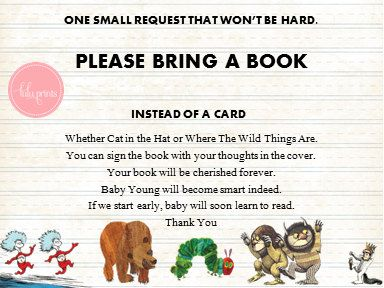 Baby Shower Insert Card PRINTABLE- Dr Seuss - Brown Bear- Hungry Caterpillar - Where The Wild Things Are on Etsy, $5.00