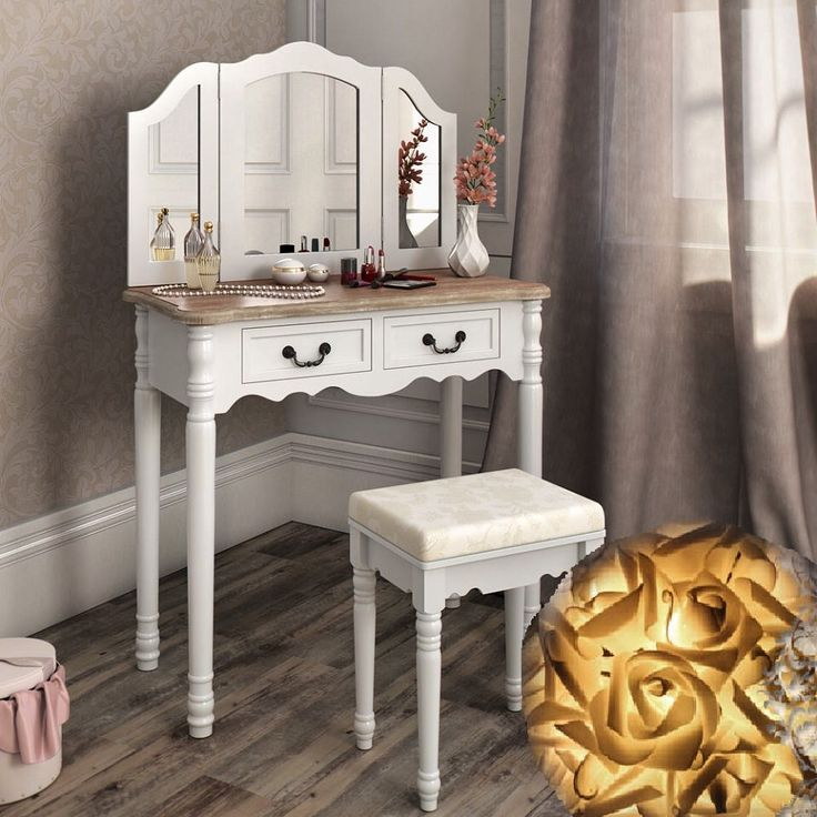 SEA305 Set mobilier toaleta cu stil: http://www.emobili.ro/cumpara/sea305-set-masa-alba-toaleta-cosmetica-machiaj-oglinda-masuta-vanity-295 #eMobili