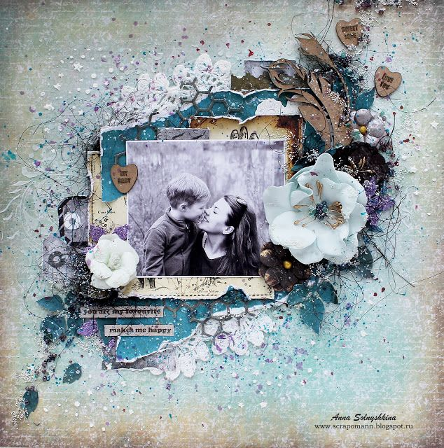 "Anna Solnyshkina: Layout ""Makes me happy"" + открытка /UmWowStudio"
