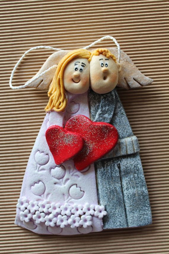 Salt dough Angel couple gift, wall hanging decoration