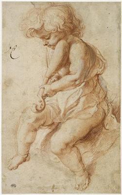 RUBENS Pieter Paul - Flemish (Siegen 1577-1640 Antwerp) ~ angel-boy playing rebec