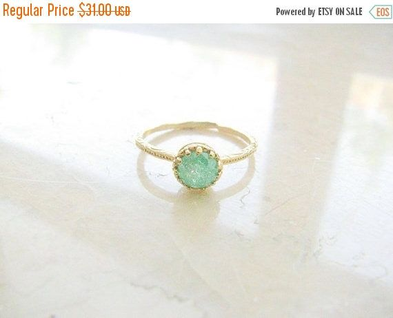 SALE - Gold druzy ring - gold ring, gold ring with green crystal, green ring, druzy crystal ring, vintage ring by MoonliDesigns on Etsy https://www.etsy.com/listing/155173925/sale-gold-druzy-ring-gold-ring-gold-ring