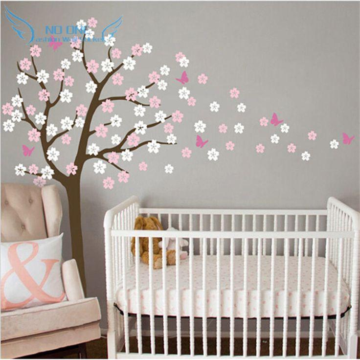 arbre norme soufflage cherry blossom stickers muraux ppinire fleurs papillon art chambre de bb enfants wall