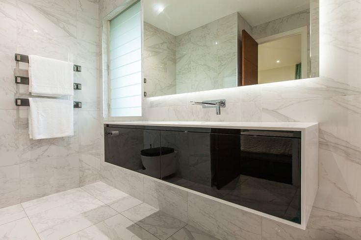 modern bathroom vanity, corian top, black gloss, black and white, clean, integrated basin, minimal, minka joinery