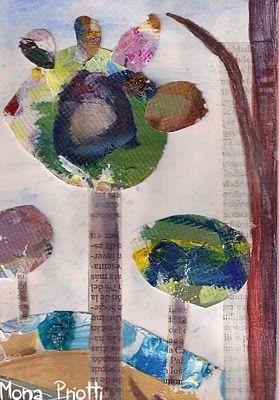 Ilustración:. Arboles de Colores. Mónica B.Priotti Carpi - REalizado con material reciclado