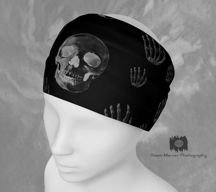 Skull Headband Printed Fabric Bandana Skull Print Hairband Black Skull Scarf Cool Stretchy Headband Ladies Unique Headbands Hair Wrap Cool by DawnMercerPhoto on Etsy