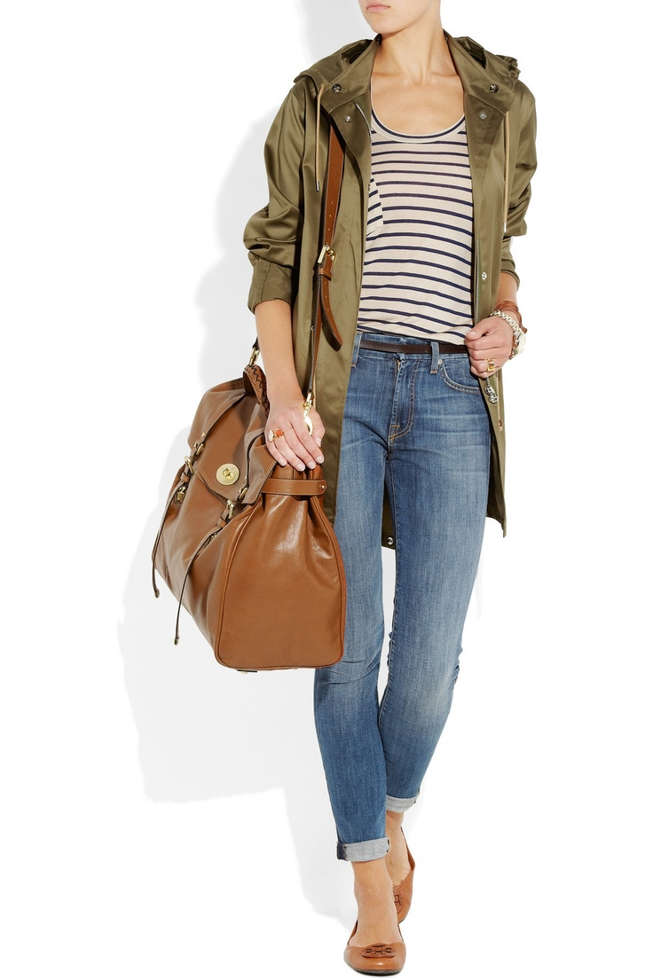 LOVE this look - esp. the Mulberry Postman's Lock leather travel bag