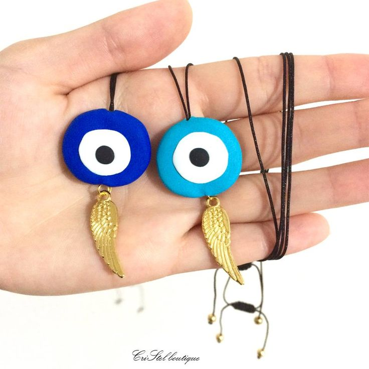 evil eye pendant made with polymer clay!