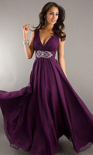 Long Deep V-Neck Evening Dress at SimplyDresses.com