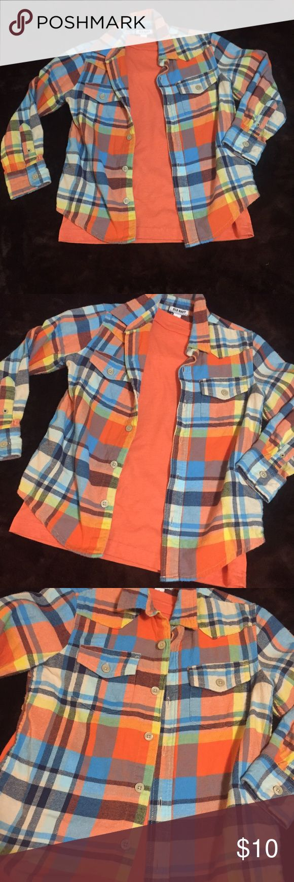Boys flannel Boys old navy flannel size small and orange short sleeve under shirt size med.   Both in good shape no rips, stains or missing buttons.  I love this shirt and its great for the upcoming spring!!! Old Navy Shirts & Tops Button Down Shirts