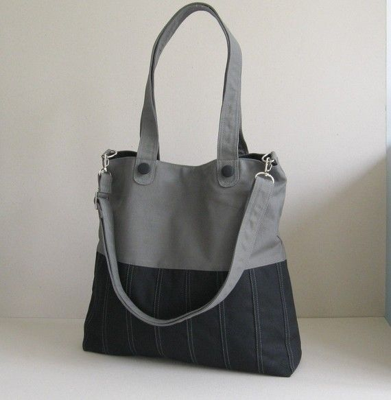 I LOVE THIS!  Sale - Black/Grey Canvas Bag, tote, purse, everyday bag, messenger bag, adjustable Strap on Etsy, $35.00
