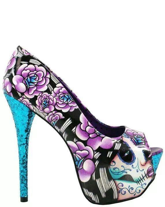 Purple Skull High Heels Boots And Heels 2017
