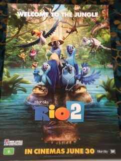Authentic Rio 2 Movie Poster (2014) It's a jungle out there for Blu, Jewel and their three kids after they're hurtled from Rio de Janeiro to the wilds of the Amazon. As Blu tries to fit in, he goes beak-to-beak with the vengeful Nigel, and meets his father-in-law.  Director: Carlos Saldanha Writers: Don Rhymer (story), Carlos Saldanha (story), Stars: Jesse Eisenberg, Anne Hathaway, Jemaine Clement   bird | amazon | jungle | father in law | toucan   Genres: Animation | Adventure | Comedy…