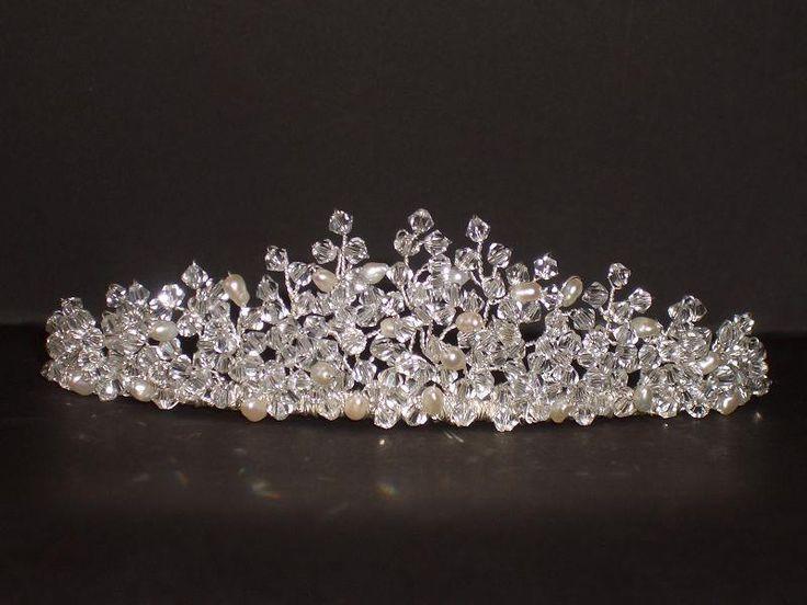 Swarovski Crystal & Pearl Bridal Tiara Wedding, custom made in over 100 colours - Jane Tiara Design.