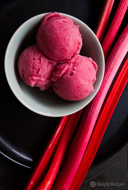 Rhubarb Sorbet ~ Welcome spring with fresh and fruity rhubarb sorbet, made with vibrant pink rhubarb stalks, orange zest, and fresh ginger. ~ SimplyRecipes.com