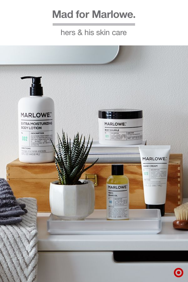 Ladies and gentlemen, meet Marlowe, the skin-care line for women and men. Get your pamper on with revitalizing extracts from passionflower fruit, green tea, willow bark and deep sea algae in whipped Body Souffle, Extra Moisturizing Body Lotion, Hand Cream, Men's Beard Oil and more. It's the best of both worlds, and it's only at Target.