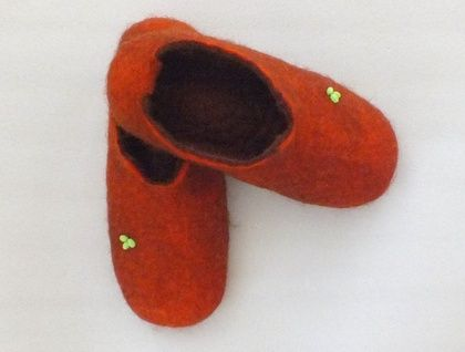 Felt slippers alpaca and sheep wool felting warm natural brown and any other colour Made to Order