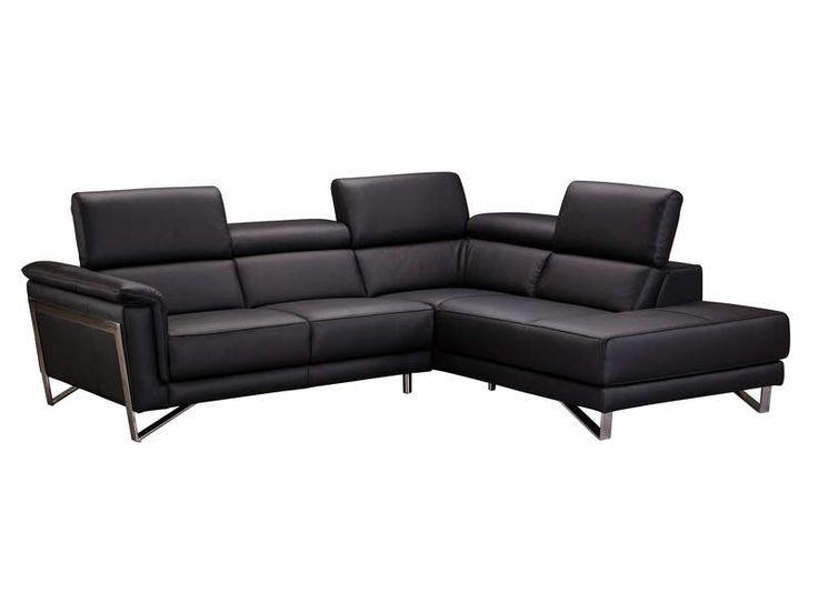 Canapé d'angle fixe droit 4 places SOPRANO coloris noir - Conforama