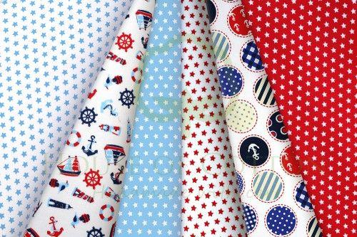 Red & blue marine cotton fabric set / Zestaw chłopięcy