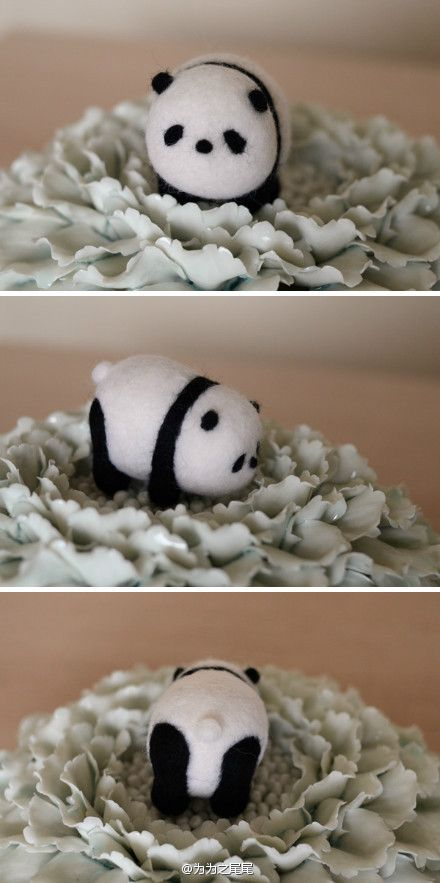 Who doesn't want this cute little fat panda for themselves? I'm so going to make this!   (Hey Mommy! Check out woolpets.com, I heard it was a good website for these projects!) ;) <3
