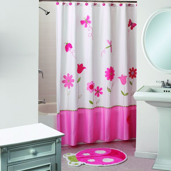 saturday knight butterfly garden pink shower curtain and bath rug set overstock shopping