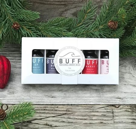 Contains 5 x 15 ml bottles, each containing one of our unique BUFF Blend Body Oils, to feed your skin and nourish your senses. PERFECT FOR GIFTS, TREATS & STOCKING FILLERS THIS CHRISTMAS 2017.