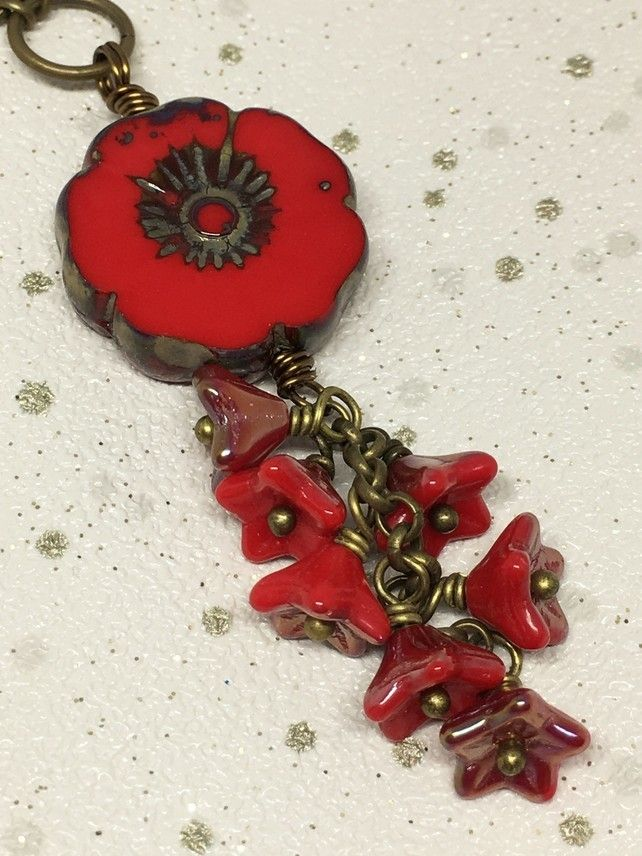 Red flower cluster long necklace £16.00