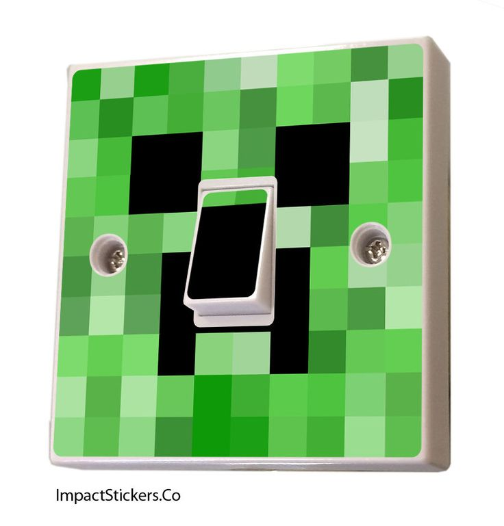MineCraft Light Switch Sticker Vinyl cover decal skin kids creeper bedroom