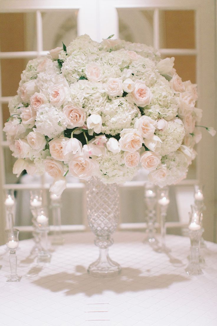 Magnificent Pale Pink + White Centerpiece || On Style Me Pretty Weddings:  http://www.StyleMePretty.com/tri-state-weddings/2013/08/20/new-york-city-essex-house-wedding-from-maggie-harkov/ Photography: Maggie Harkov ||  Floral Design: Belle Fleur