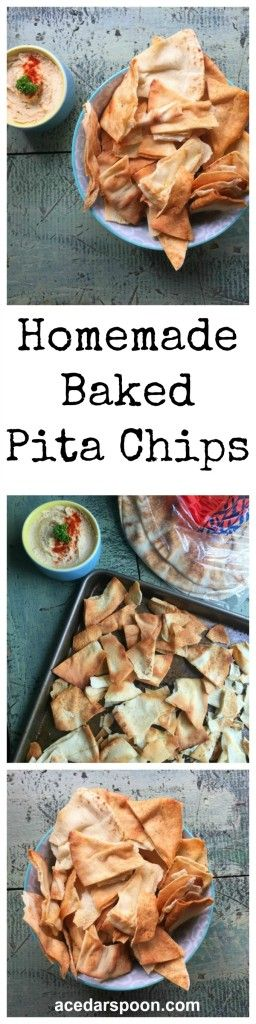 Homemade Baked Pita Chips using only four ingredients: pita bread, olive oil, garlic and sea salt. These are crispy and simple to make pairing perfectly with your favorite hummus or dip. // A Cedar Spoon