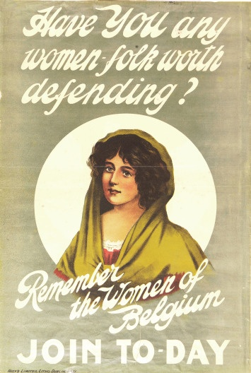WW1 Irish recruiting poster, encouraging going to help Belgium in the war.